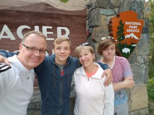 Our fun family picture at Glacier National Park